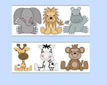 ANIMAL WALLPAPER BORDER Wall Decals Baby Boy Safari Jungle Nursery Childrens Bedroom Kids Zoo Room Elephant Monkey Zebra Stickers Decor