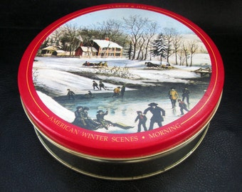 Vintage candy tin, Katharine Beecher Butter Mints candy tin, Currier and Ives winter illustration food canister, 90s