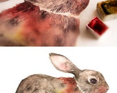 Watercolor Bunny Print, Rabbit Print, Watercolor Art, Watercolor Painting, Wall Art, Wall Decor, Nursery Wall Art, Children Art, Woodland
