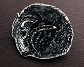 Lurcher Brooch, dog pin badge, curled up dog badge
