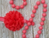 Baby Girls Toddler  Coral Chunky Bead Necklace Bracelet Stretchy Flower Headband