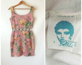 80s Betsey Johnson Dress / Mauve Pink Floral Print / 80s Bodycon Mini Dress / Cut Out Waist Open Work / Betsey Johnson Punk Label / Medium