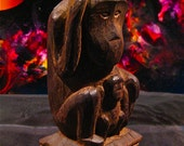 Vintage Mother Orangutan And Baby Native Woodcarving
