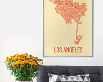 Original Los Angeles Typographic Neighborhood Map