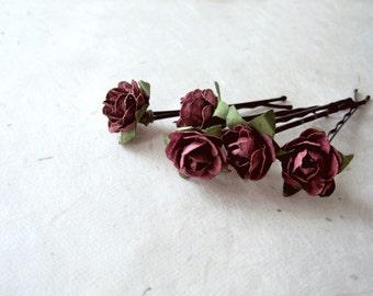 Aubergine Rose Hair Pins. Handmade Paper Flower Bobby Pins in Deep Eggplant Burgundy. Rustic Floral Autumn Fall Wedding Hair Accessories.
