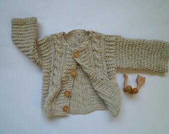 Organic cotton ,knit baby sweater, unisex baby cardigan , baby cardigan,baby boysand girls