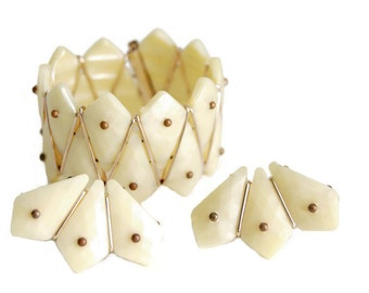 Art Deco Lucite Ivory Flexible Cuff Bracelet & Clip Earrings Vintage Jewelry West Germany Modernist Geometric Fashion Accessory Collectibles