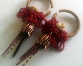 5mm verawood hoops, ear weights with copper blossoms, sea urchin spikes, jasper chips, glass, and silk