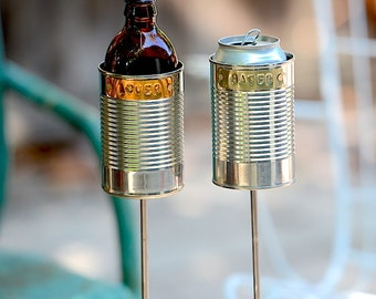 Lover + Hater- 2 Hobo Tin Can Beer Holders/ Garden Drink Holders
