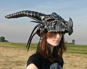 MADE TO ORDER -  Dragon skull headdress larp renaissance burning man fantasy black silver horns gothic halloween