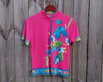 M Medium Vintage 80s Bold Pink Tropical Floral Print Colorful Short Sleeve Zipper Neck Collar Hipster Indie Kawaii Blouse Shirt