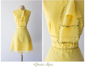1960's Vintage I.Magnin Dress - Festive Yellow Dress with Polka Dots and Ascot - Fun Fiesta Summer Dress - Size Large
