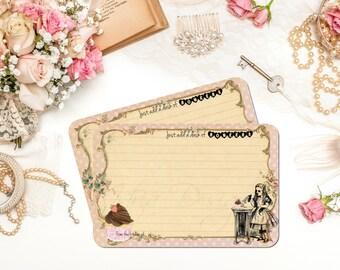 Alice in Wonderland Recipe Cards, Funny, Eat Me, Drink Me, Bridal Shower Recipe Cards, Pink, Vintage, Cupcake Recipe Cards, Set of 12