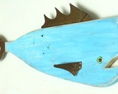 Pescado Azul #3, Garden art fish, textured reclaimed wood and recycled metal, bluefish, folk art, whimsical fish