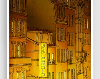 Golden night - Paris illustration Art illustration Mixed media illustration Art Prints Posters Paris decor Architectural illustration Yellow