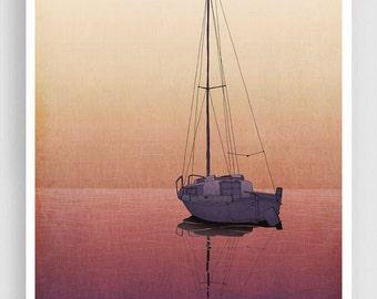 Calm waters - Art Illustration Print Poster Home decor Nature prints Kids wall art Love Purple Orange sea prints Ocean prints Dreamy boat