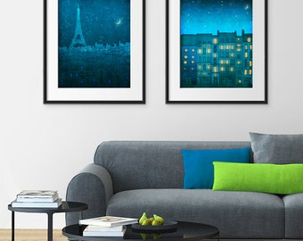 Any TWO Prints - Save 20%,Set of two Illustrations,Fine art illustration Giclee Art print Poster Paris Home decor Large wall art City prints