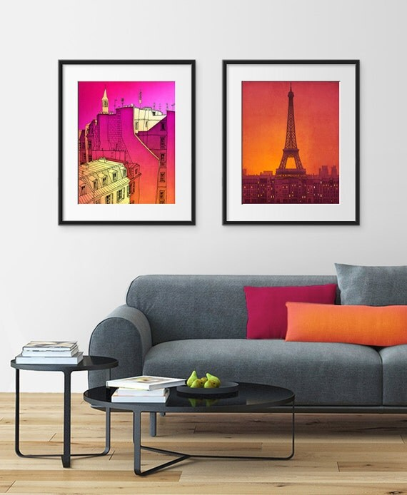 Any TWO Prints - Save 20%,Set of two Illustrations,Fine art illustration Giclee Print Art Poster Paris Home decor Large wall art City prints