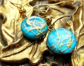 Mint and Gold Earrings - Short Simple Sea Green and Gold Earrings - CLEARANCE