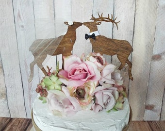 Deer wedding cake topper elk wedding bride groom hunter hunting groom's cake deer lover Mossey Oak themed deer on sticks buck rack antler