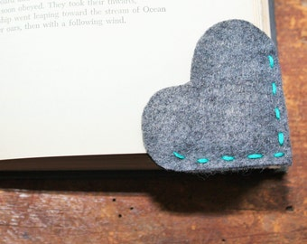 Handcrafted  Heart Page Corner Felt Bookmark.