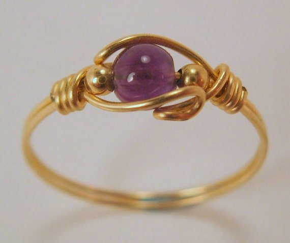 14Kt Gold Fill 4mm Round Genuine Amethyst Bead Ring Available in a Size 0.5 - 12+