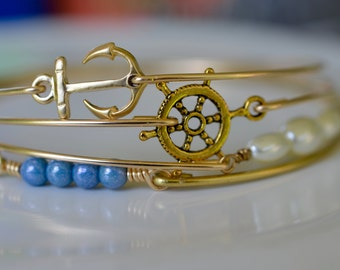 Nautical Bangle Bracelet Set- Gold Bangles- Anchor Bracelet- Pearl Bangle- Blue Bangle- Bridesmaids Gifts- Bangle Bracelet Sets