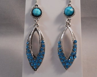 Silver tone Dangle Earrings with Blue Rhinestones and Blue Bead