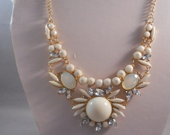 SALE Bib Necklace with White Flower Pendants and Crystal Beads on a Gold Tone Chain