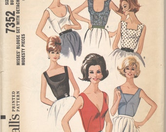 Vintage 1964 McCall's Pattern 7352 Blouses with Detachable Modesty Panel Bust 36
