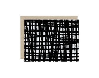 Scribbled Plaid - Brushstrokes - Note Card