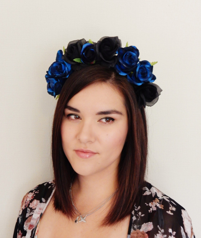 Black Flower Crown Gothic Flower Crown Black Flower: Blue And Black Rose Flower Crown Floral Crown Fascinator