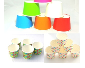 80- 8 oz Party Cups, 8 Colors! Ice Cream Cups Snack Cups Cupcake cups Fruit Cups Candy Cups Tough and Sturdy Cold Cups Hot Cups Paper Cups.