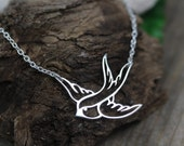 Flying Bird Necklace . Silver Solitary Swallow Necklace . Sterling silver bird and chain. Bird Necklace.Sister Friends gift . Daughter gift