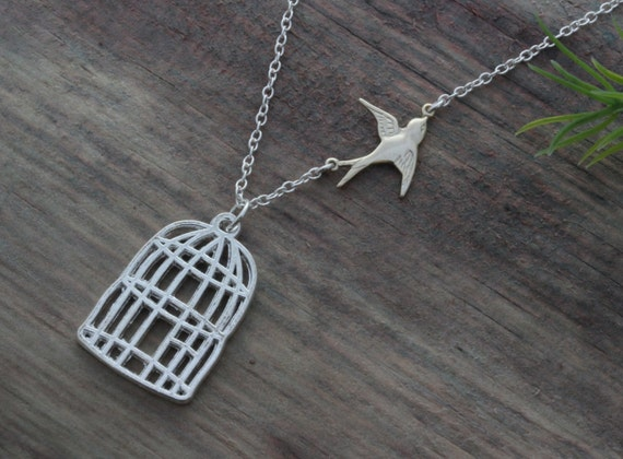 Be Free Sparrow Necklace, Silver bird cage necklace, Go Fetch gift, Sparrow Necklace, Somebody leaving gift, Divorce - Flying bird necklace