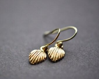 Matte Gold Shell Earrings - Shell Earrings - Small Shell Dangle Earrings - Simple Modern Shell Jewelry - Summer Earrings