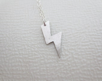 Lightning Bolt Charm - Lightning Bolt Necklace - Lightning Necklace - B - Hand Cut - Hand Hammered - Sterling Silver - 14k Gold Fill