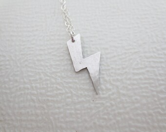 Lightning Bolt Charm - Lightning Bolt Necklace - Hand Cut - Hand Hammered - Sterling Silver -14k Gold Fill
