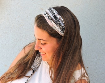 Head wraps for women- Black and white Turban Headband - Bohemian Head Wrap -Fabric Hair Wrap - Fashion Hair Accessories
