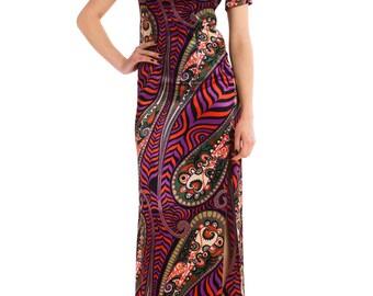 1980s Vintage Colorful Paisley Print Dress  Size: XS