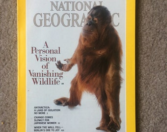 National Geographic Magazine April 1990 - Vanishing Wildlife, Antarctica, Berlin Wall Falls, Japanese Women