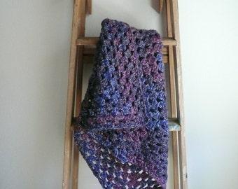 Boho Blanket / Purple Blanket / Wool Blanket / Throw Blanket / Crochet Blanket / Bohemian Throw Blanket