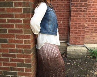 Crocheted Ombre Maxi Skirt