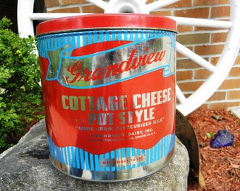 Vintage Cohocton Creameries Grandview Dairy Cottage Cheese TIn - 10 lbs - from DustyMillerAntiques