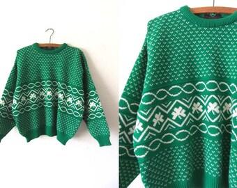 Shamrock Print Boston Celtics Style Sweater - Kelly Green Irish Style vintage Sweater Woven Jumper - Mens Large