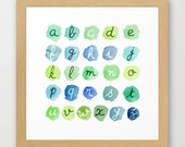 A B Sea Watercolor alphabet - Nursery Art - Blue and green ABC wall art - The colors of the ocean - Beach nautical nursery decor