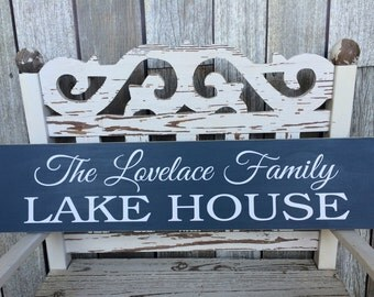 CUSTOM -SOLID- Lake House Sign (5.5in x 24in) - Home Decor - Perfect Gift