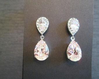 Rosaline Pink Bridesmaid Earrings/Swarovski Light Pink Crystal Earrings/Bridesmaid Jewelry/Swarovski Pink Earrings/Rosaline Earrings