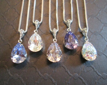 SET OF 3,4, 5, 6 -Bridesmaid Necklaces/Bridesmaid Jewelry/Swarovski Crystal /Bridal Jewelry/Swarovski Necklace/Jewelry Sets/Wedding Jewelry