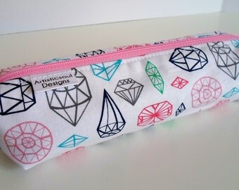 Pencil Case, Pencil Pouch, School Supply – Diamonds and Jewels - Toiletry & Cosmetics Bag